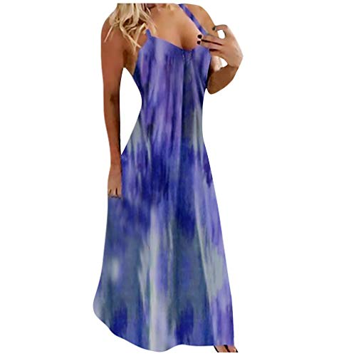 Great Features Of Toimothcn Women Plus Size Maxi Dress Tie-dye Print Sleeveless Camisoles Long Dress...