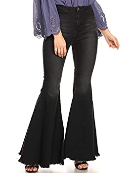 Anna-Kaci Women s Fashion High Waist Long Denim Bell Bottom Jeans Flared Pants Black Small