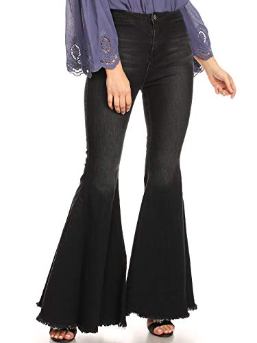 Anna-Kaci Women's Fashion High Waist Long Denim Bell Bottom Jeans Flared Pants, Black, Large