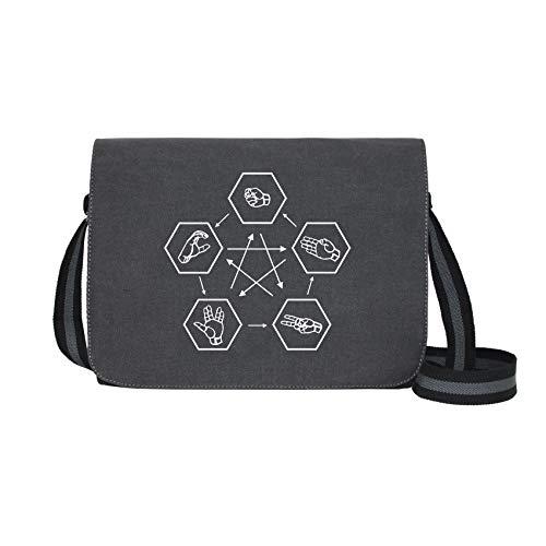 Stein Schere Papier Spock Echse - Umhängetasche Messenger Bag für Geeks und Nerds mit 5 Fächern - 15.6 Zoll, Schwarz Anthrazit