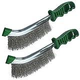 AERZETIX - Juego de 2 - Cepillo metálico con alambre ondulado - longitud 245mm - con mango de plástico verde - cerdas de acero inoxidable - para limpiar pelar lijar soldar - C50156