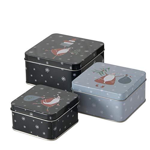 3er Set Metall Keksdose Plätzchendose eckig schwarz grau Weihnachtsmann sortiert 9-12cm