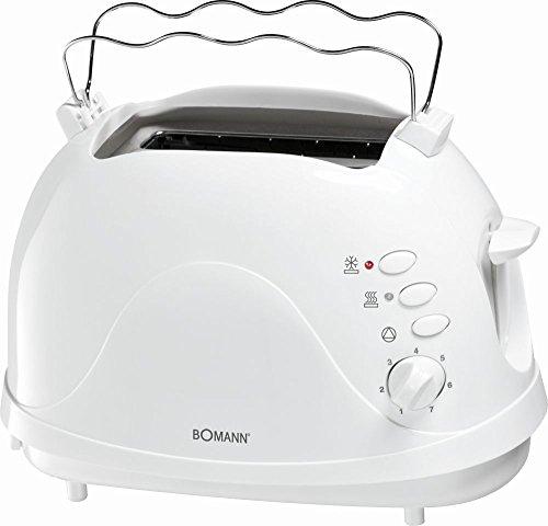 2-Scheiben Toaster in weiß mit integrierten Brötchenaufsatz und Cool-Touch-Gehäuse Toastgerät Tostgerät Toasten Toastautomat (sparsame 700 Watt + Aufwärm-, Auftau-, Schnellstopp-Funktion)