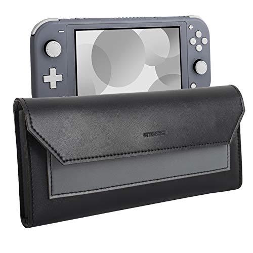 MoKo Estuche de Transporte Compatible para Nintendo Switch Lite, Bolsa de Almacenamiento de PU Cuero, Bolsillo Portátil de Viaje con Cierre de Magnético, para Nintendo Switch Lite 2019 - Negro + Gris