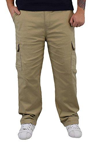 S&LU sportliche Herren Thermo Cargohose mit Gummibund und seitlich aufgesetzten Klettverschluss Taschen Gr.: M-XXXL Beige M