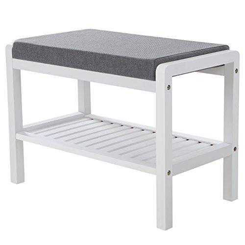 SONGMICS Bambus Sitzbank Schuhschrank mit Sitzkissen Schuhregal Schuhbank mit 2 Ablagen für Wohnzimmer, Schlafzimmer, Flur, Diele 60 x 43 x 32 cm (B x H x T) Weiß und Grau LBS65WN