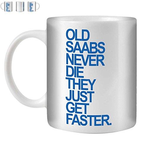 Stuff4 Tee/Kaffee Becher 350ml/Saab/Blue Text/Alte Autos/Weißkeramik/ST10