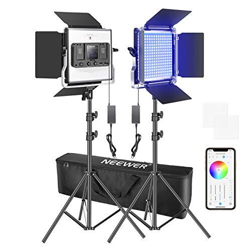 Neewer 2 Packs Luz LED RGB 480 con Control Aplicación Kit Iluminación Video y Fotografía con Soportes y Bolsa 480 LED SMD CRI92 3200K-5600K Brillo 0-100% 0-360 Colores Ajustables