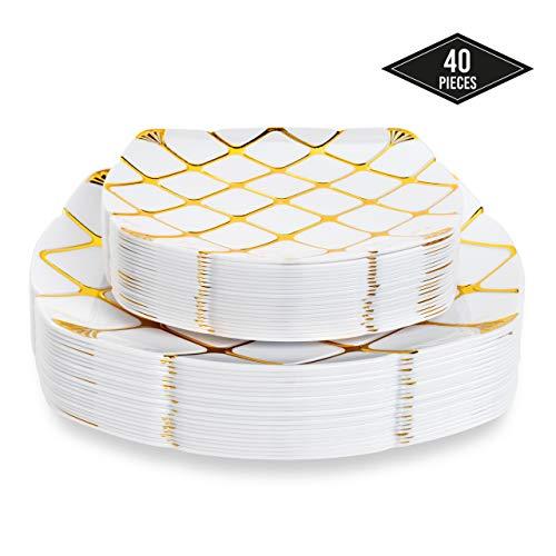 40 Elegantes Platos Desechables de Plástico Duro con Patrón Dorado| 20 Platos Grandes y 20 Platos Postre| Resistentes y Reutilizable - Vajilla Desechables Oro para Catering Bodas Fiestas Navidad.