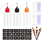 Kevinart Henna Tattoo Kit Applicator Bottle 3Pcs Squeeze Temporary Tattoo Bottles with 24 Stencils Cotton Swab Glove for Henna Tattoo Cone Paste Ink Storage The Full Accessory Kits (Black Brown Red)