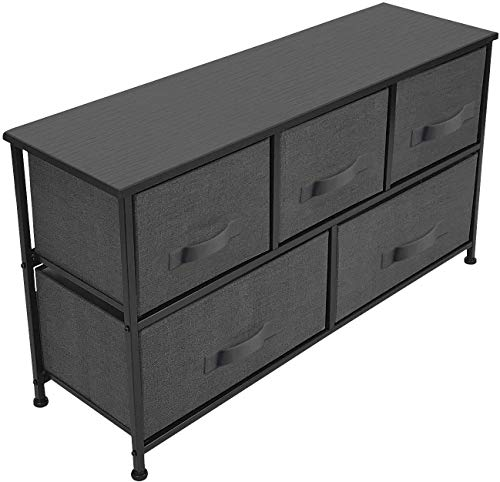 Sorbus Dresser with 5 Drawers, Fabric Storage Tower, Organizer Unit for Bedroom, Hallway, Entryway, Closets, Sturdy Steel Frame, Wood Top, Easy Pull Handle (Black/Charcoal)