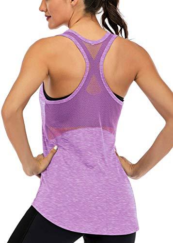 Fihapyli Workout Tank Tops for Women Sleeveless Yoga Tops for Women Mesh Back Tops Racerback Muscle Tank Tops Workout Tops for Women Backless Gym Tops Running Tank Tops Activewear Tops Lightpurple M