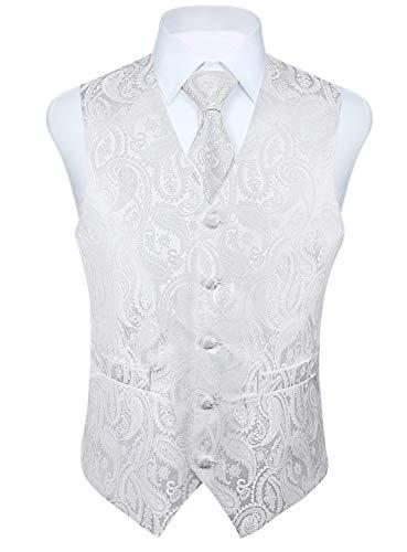 HISDERN - Chaleco de cachemira para hombre, diseño de flores Blanco blanco XXXXXL