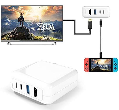 for Nintendo Switch Charger,Portable Switch Dock with 30W PD Charging + USB-C to HDMI and USB-A Compatible with Nintendo Switch /Huawei P30 /i-Pad Pro(Before 2020) and Other USB C Devices