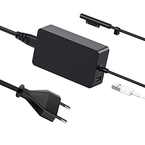 Ywcking Cargador Surface Pro de 65 W, 15 V, 4 A, para Microsoft Surface Pro 3, Pro 4, Pro 5, Pro 6, Surface Go, Surface Laptop, Surface Book2, Surface Tablet y más, con conector USB C