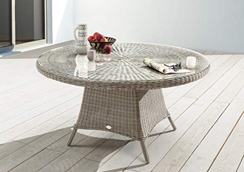 Destiny Tisch Luna Vintage Weiß 120 cm Gartentisch Polyrattan Geflechttisch Esstisch
