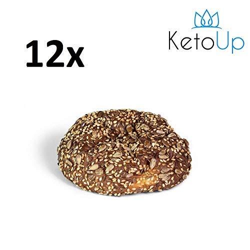 KetoUp: 12 frische Low Carb Mehrkornbrötchen | Ketogene und Low Carb Ernährung | Sportnahrung | Gesunde Ernährung | maximal 3% Kohlenhydrate - 12x100g
