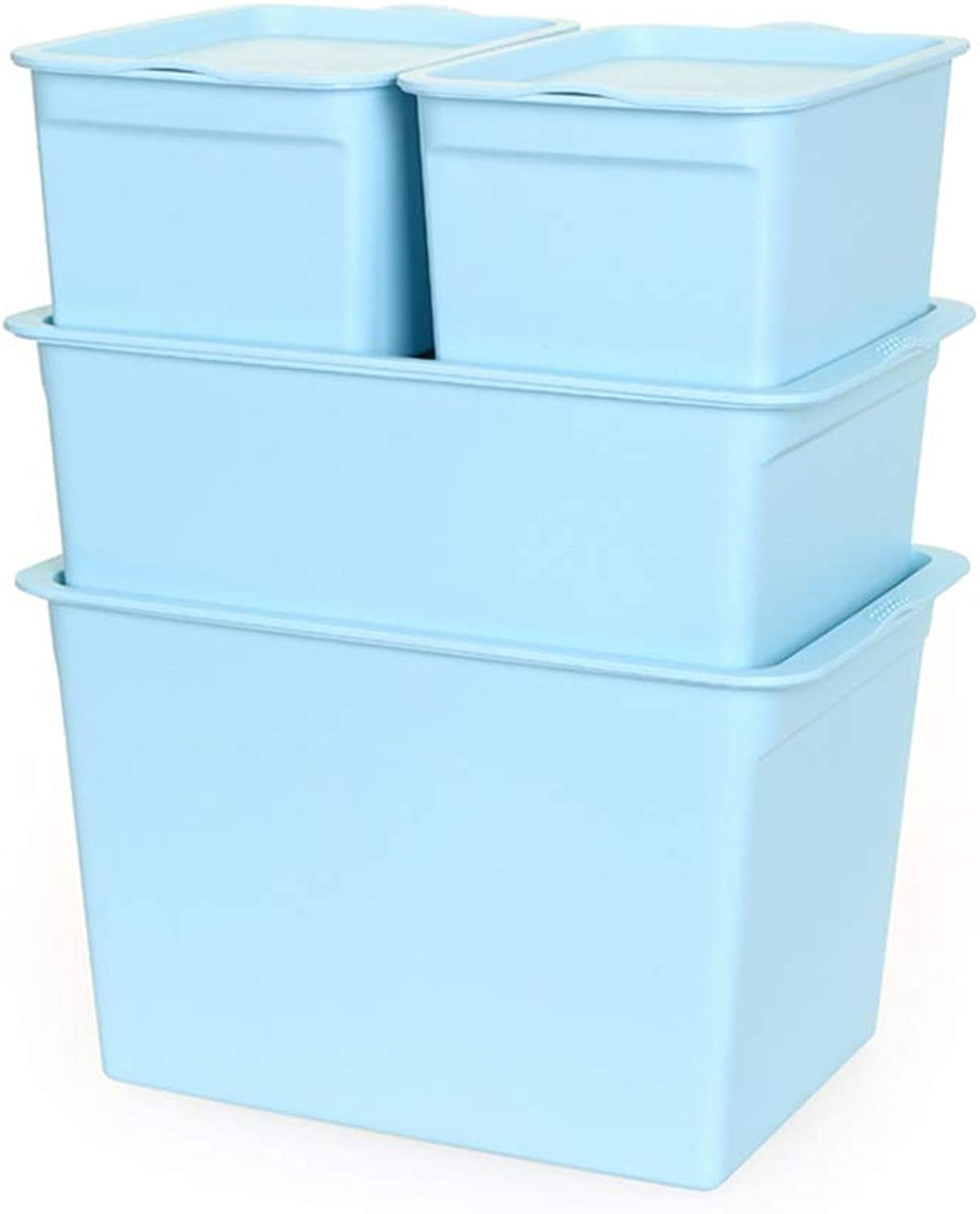 ZHANGQIANG Storage Basket Laundry Basket Litre Clear Plastic Storage Boxes & Lids - Pack of 3 (color   Rattan bluee, Size   Four-Piece Set)