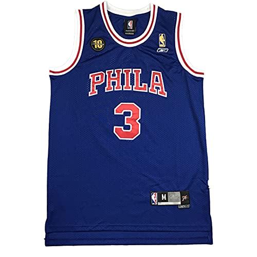 KKSY Herren Trikot Philadelphia 76ers 3# Allen Iverson Jerseys Atmungsaktives Basketball Tricot,C,XXL