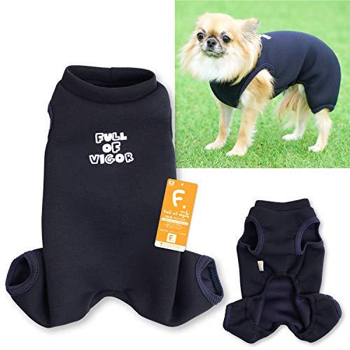 犬猫の服 full of vigor_ロゴプリントダンボールニットつなぎ_5/ネイビー_D2S_小型犬・ダックス用