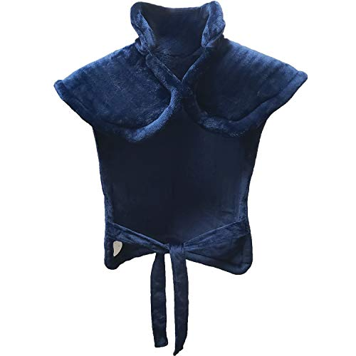 Extra Large Full Back Shoulders and Neck Heating Pad 24' x 33' Fast Heating Wrap with Auto Shut Off for Back, Neck and Shoulder, Abdomen, Waist Pain Relief, Dry/Moist Option (Navy)