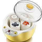 SNJDX Máquina automática para Hacer Yogurt de Acero Inoxidable con 4 Tazas de cerámica, tarros de Yogur, Aparato de Cocina (Size : 218x192x154mm)