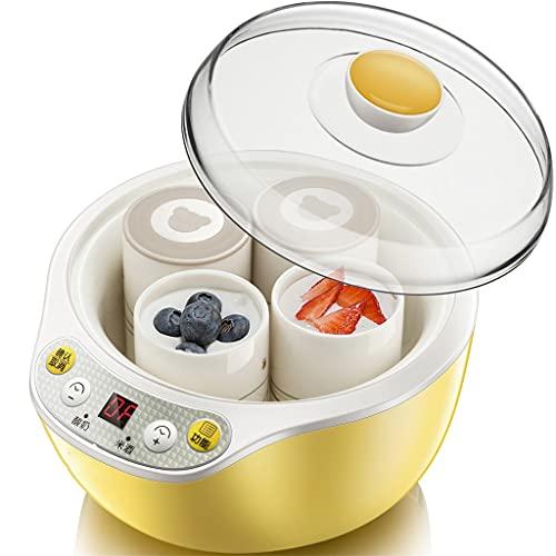 SBSNH Máquina automática para hacer yogurt de acero inoxidable con 4 tazas de cerámica, tarros de yogur, aparato de cocina (Size : 218x192x154mm)