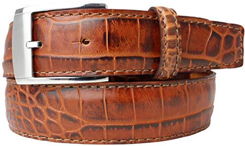 Gürtel mit Krokoprägung 3,5 cm | Leder-Gürtel für Damen Herren 35mm Kroko-Optik | In Schwarz Braun Blau Rot Cognac Kroko-Muster Schnalle Silber