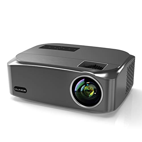Projector, VILINICE 7500Lux Video Projector Native 1920x1080P Full HD Outdoor Movie Projector,300'' LCD Display Compatible with TV Stick, HDMI, iPhone, Android for Home Theater, PPT Presentation