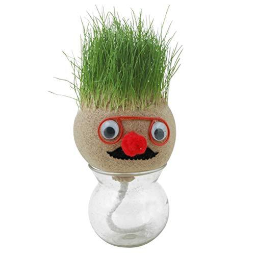 YINLANG Mini muñeca de Hierba con Cabeza de bonsái, jardín de Plantas de cerámica Verde de Pelo, Maceta de Hierba de muñeca con Flor de árbol, Utilizada para embellecer Habitaciones