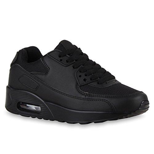 stiefelparadies Damen Herren Lauf Unisex Sport Sneakers Camouflage Fitness Sneaker Leder-Optik Glitzer Lack Neon Schuhe 118767 Schwarz 38 Flandell