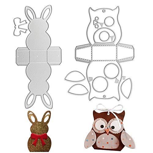 VINFUTUR 2 Stück Stanzschablone Box Hase Eule Form Metall Prägeschablonen Stanzformen Schablonen Schneiden für Scrapbooking DIY Gastgeschenkbox Süßigkeitenbox