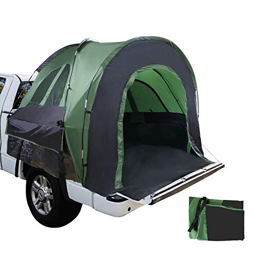 Truck Bed Tent 6.8' x 5.4' x 5.5' with Extra Tent Cover, Full Size Truck Tent Two Person Sleeping Capacity, Full Coverage Waterproof Pickup Tent for Camping, Hiking, Fishing, Green & Black