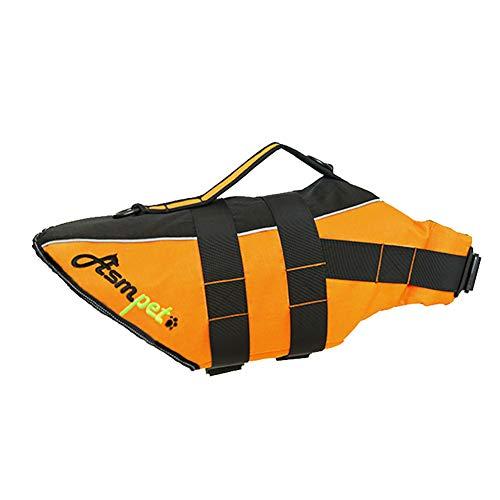 CHD Tamaño del Chaleco Salvavidas para Mascotas Chaleco Ajustable Perros Reflectante Seguridad Protector Natación Surfin Canotaje Caza,Naranja,XL