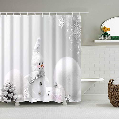songshenjian Merry Christmas Duschvorhang Rentiere, Weihnachtsmann, Schneeflocke, Urlaub, Badezimmer, Polyester, 183 x 183 cm Grauer Schneemann