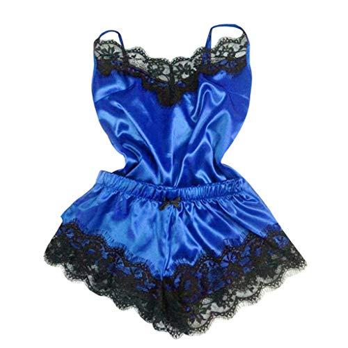 ReooLy 2PC Unterwäsche Frauen sexy Nachthemd Pyjama Unterwäsche Set Satin-Pyjama Spitzebügel Shorts Zweiteilige(Blau/Medium)