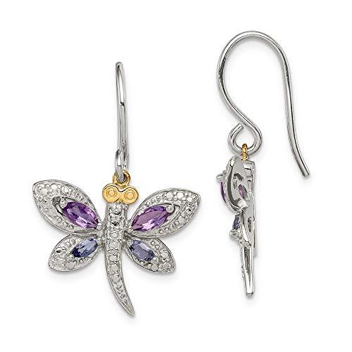 Broche de plata de ley y 14ct Amethyst y Iolite ásperos - mide de libélulas de diamante Juego de pendientes de 27 x 21 mm