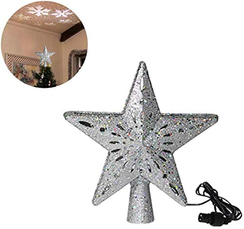 FISH-DANCE Hollow Star Christmas Tree Topper, 3D Glitter Lighted Star Tree Toppers with Adjustable LED Magic Snowflake Projector Lights for Christmas Tree Decoration Xmas Home Decor, silvery