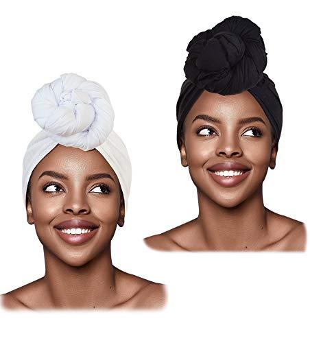L'VOW 2 Pieces Stretch Turban Headband Long Hair Scarf Wrap Hijab Tie Head Wraps Scarves for Women(White)
