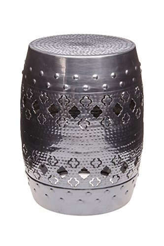 Marrakesch Orient & Mediterrane Interior ® Indische design kruk bijzettafel kruk voetkruk tafeltje zilverkleurig Cagri - 45cm hoog -