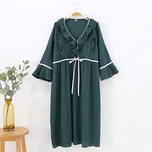 STJDM Pyjama,Summer New Cotton Fabric Crepe Womens Lingerie Nightgown Postnatal Feeding Long Sleeve Pregnant Sleeping Dress M Green