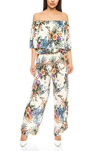 Kendindza Damen Overall Allover-Print   Floral Jumpsuit   Flower Hosenazug (Weiß, S/M)