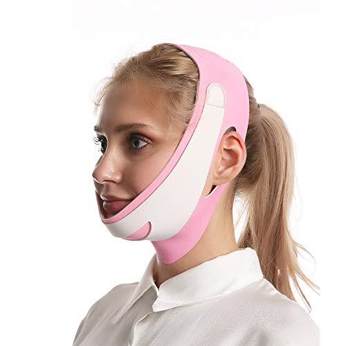 Visage Masque Minceur Lifting Double Menton Masque Amincissant pour Le Visage V-Line Raffermissant Peau Bandage, Anti-âge Liftant en Forme de V Adapté au Visage,Rose