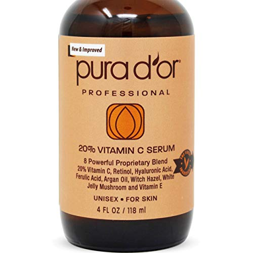 PURA D'OR (4oz) 20% Vitamin C Serum for Face & Eyes With Hyaluronic Acid, Vitamin E & Argan Oil,...