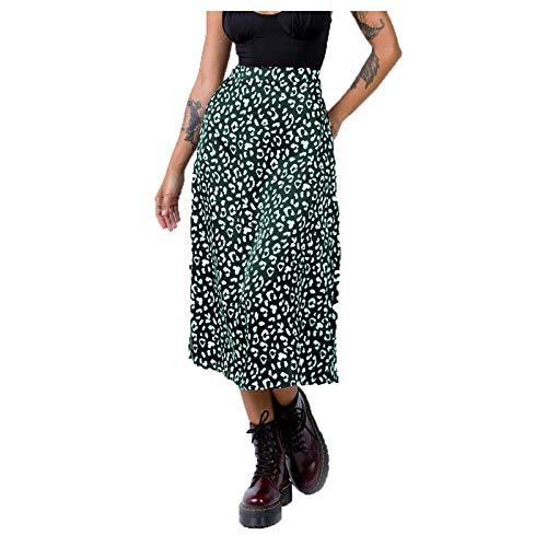 TriLance Damen Röcke, Frauen Sexy Rock Chiffon Sommerrock Leopardenmuster Split Midi-Rock Strandrock Hohe Taille Rock Kleid