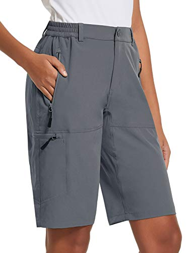 BALEAF Women's 10 Inches Quick Dry Stretch Hiking Cargo Shorts with Zippered Pockets UPF 50+ for Camping, Travel Dark Grey Size L