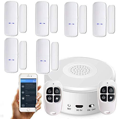 Nouveau - APP Version Française - WI-FI - Alarme de Maison sans Fil - 1 Sirène - 6 Détecteurs d'Ouverture (Nouveaux codages numériques) - 2 Tél - 8 Autocollants - Alarme de Porte - Alarme de Porte