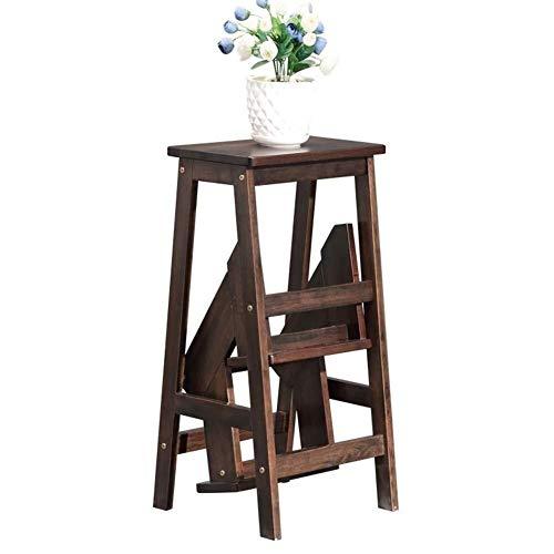CHGDFQ Escalera plegable de madera maciza multifuncional para escalera de doble uso, taburete de madera, banco de zapatos, soporte de flores