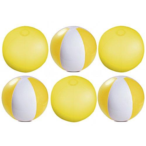 eBuyGB Packung mit 6 aufblasbaren Farben Wasserball Pool-Spiel, Durchsichtig Gelb, 22 cm / 9