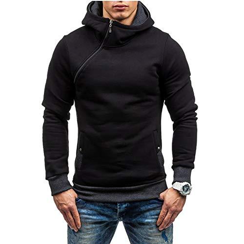 Men's Fashion Hoodies Slim fit Long Sleeve Sweatshirt Stitching color Diagonal zipper Pullover Black with Gray L